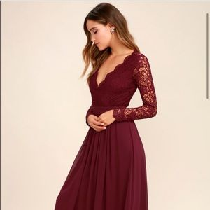 Awaken My Love Burgundy Long Sleeve Lace MaxiDress